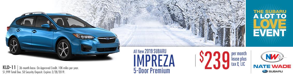 2019 Impreza 5-Door Premium Lease Special at Nate Wade Subaru in Salt Lake City, UT