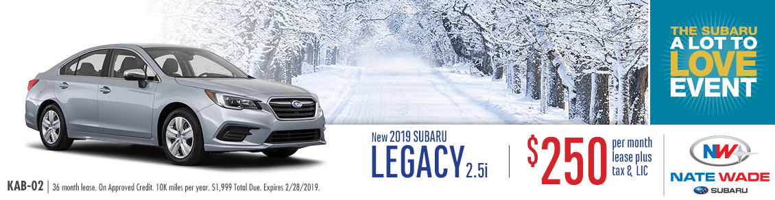 2019 Legacy 2.5i Lease Special at Nate Wade Subaru in Salt Lake City, UT