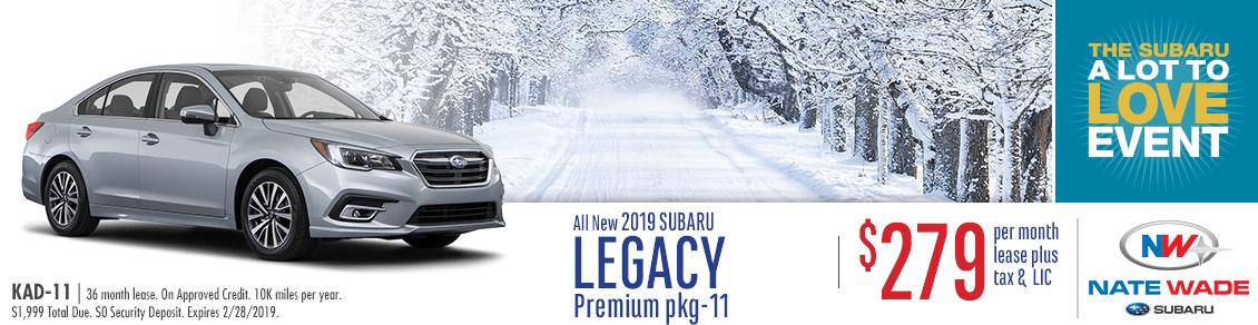2019 Legacy Premium Low Payment Lease Special at Nate Wade Subaru in Salt Lake City, UT
