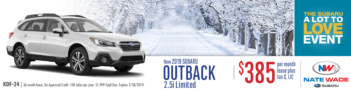 New 2019 Outback 2.5i Limited Low Payment Lease Special at Nate Wade Subaru in Salt Lake City, UT