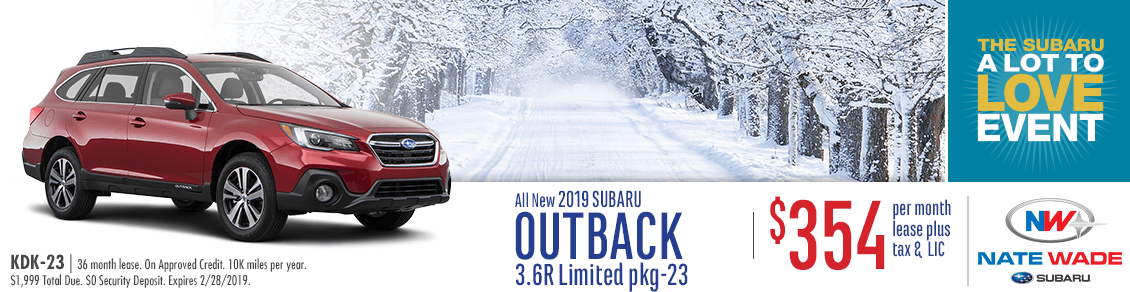 2019 Outback 3.6R Limited Lease Special at Nate Wade Subaru in Salt Lake City, UT