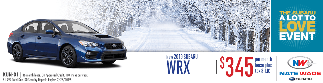 New 2019 WRX Low Payment Lease Special at Nate Wade Subaru in Salt Lake City, UT