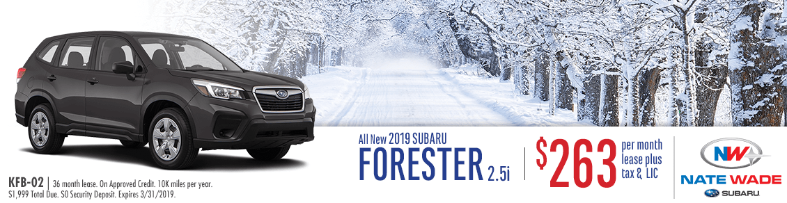 New 2019 Forester 2.5i Lease Special at Nate Wade Subaru in Salt Lake City, UT