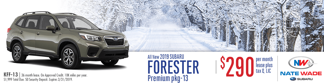 2019 Forester Premium Low Payment Lease Special at Nate Wade Subaru in Salt Lake City, UT
