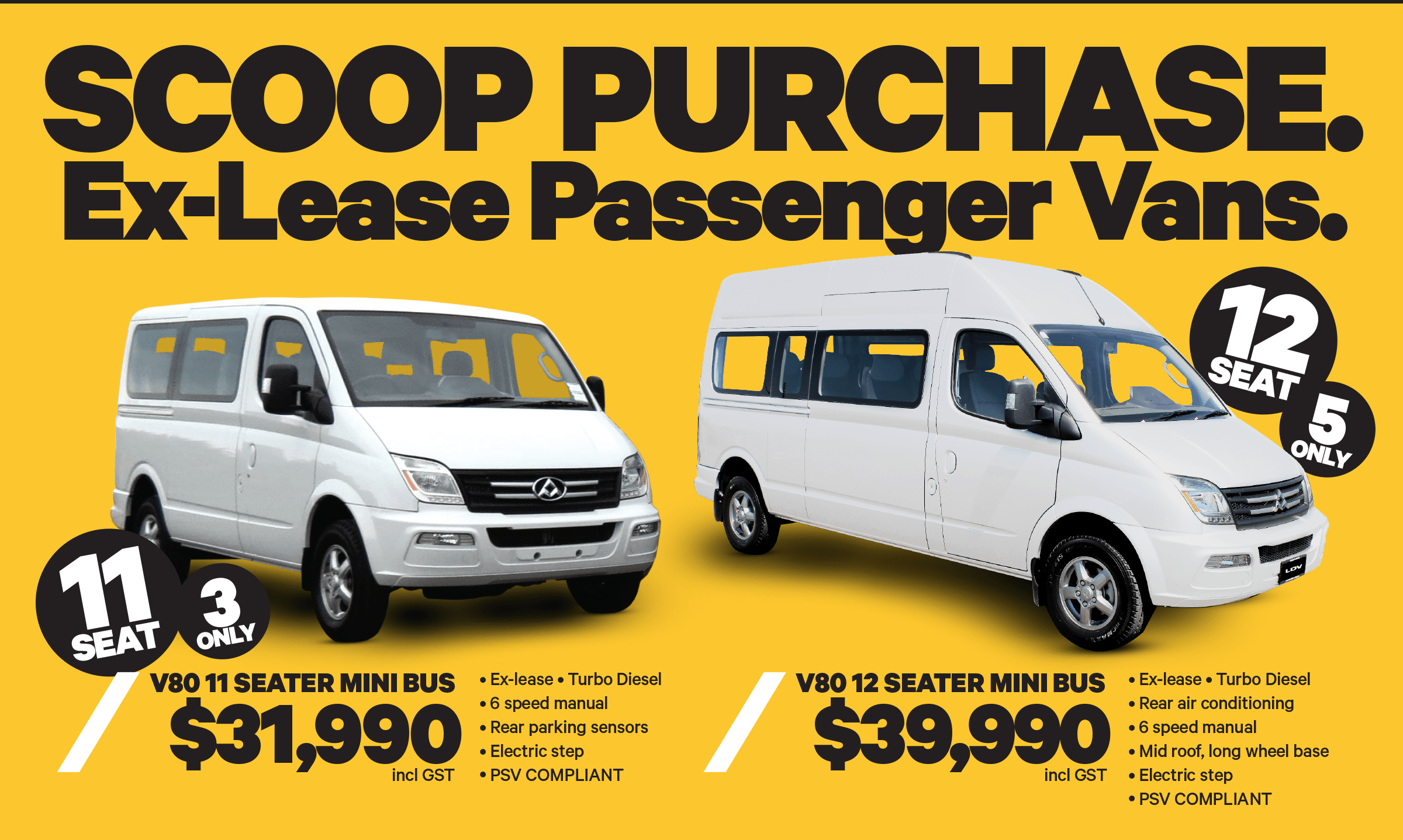 Save now on Ex-Lease LDV Passenger Vans during this LDV scoop sale!
