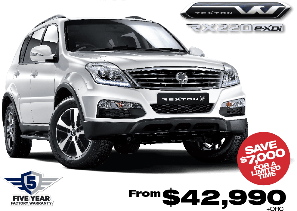 Purchase a new 2017 SsangYong Rexton RX 220 and save big for a limited time! Contact SsangYong for more details