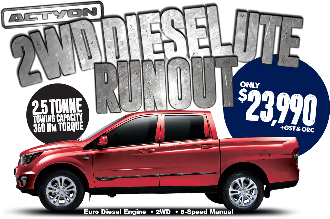 Save During the SsangYong Actyon 2WD Diesel UTE Runout Event
