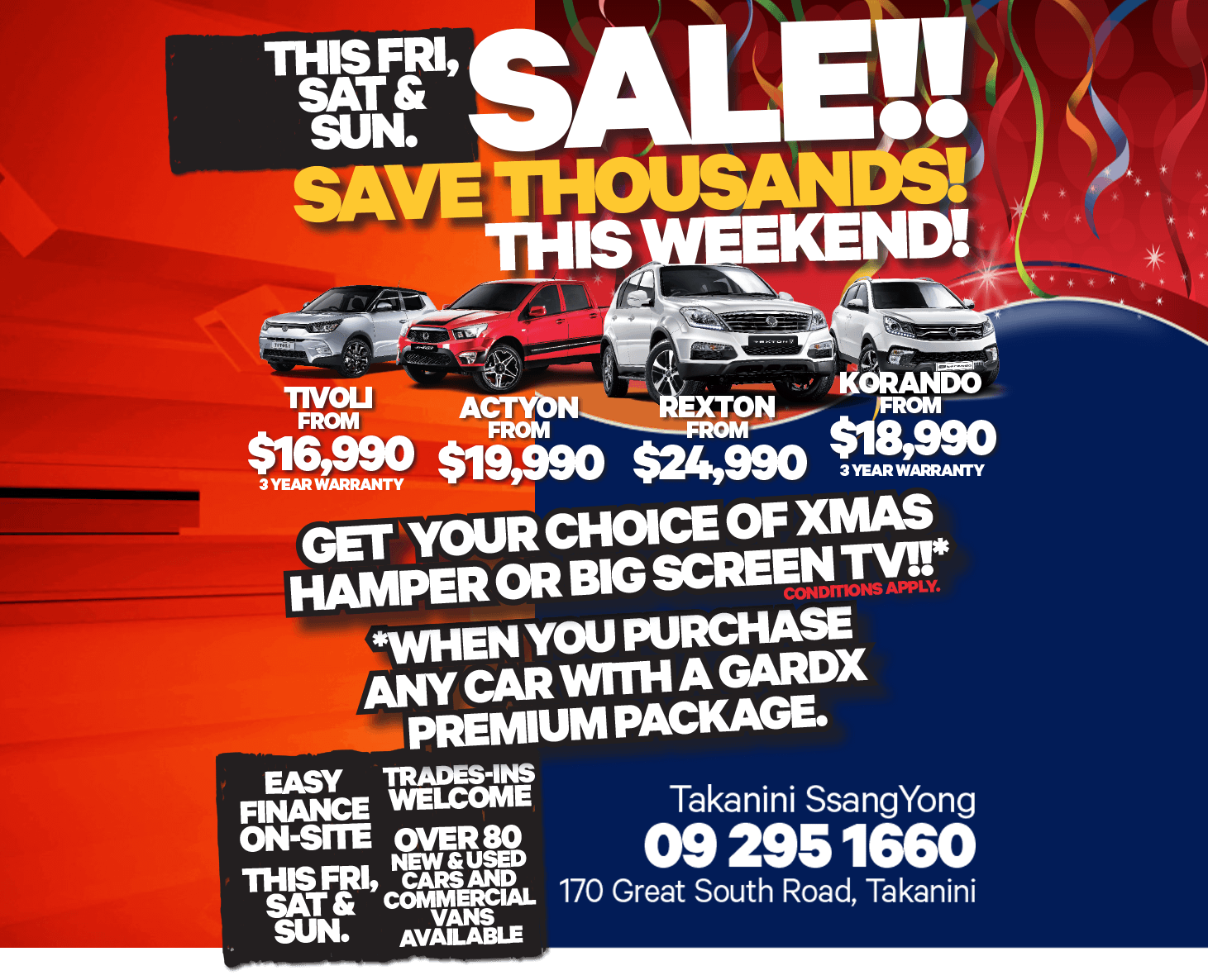 For a limited time, save on an all-new SsangYong model this holiday at Takanini SsangYong!