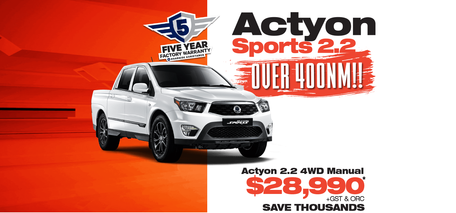 Save on an all-new SsangYong Actyon Sport 2.2 while this offer lasts!