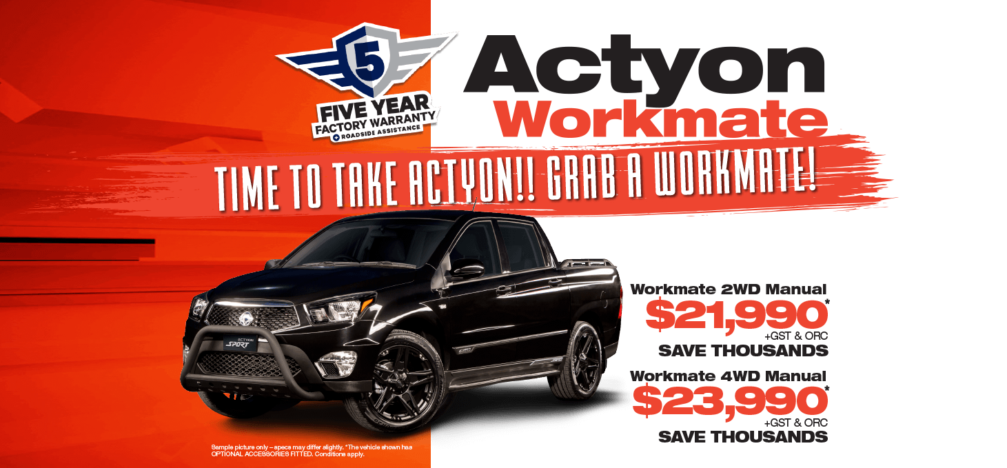 Save on an all-new SsangYong Actyon Workmate while inventory lasts!