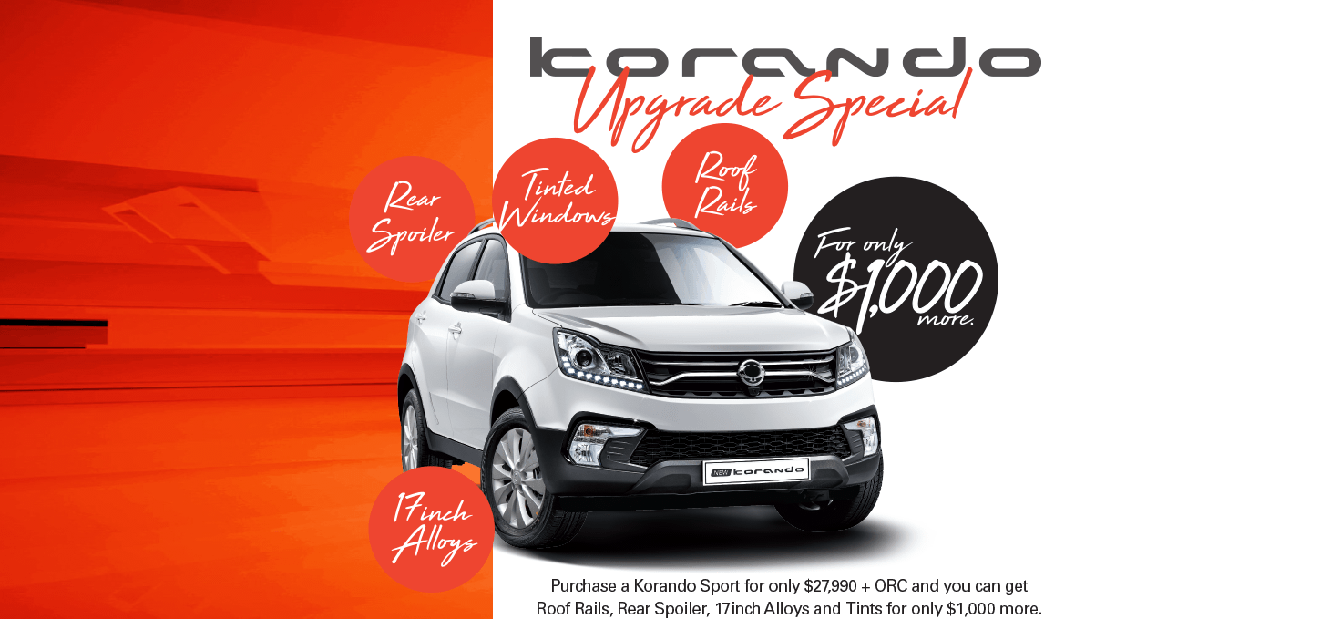 For a limited time, purchase a Korando Sport and save on roof rails, a rear spoiler, 17 inch alloy wheels, and tinted windows! Act now, because this offer will not last!