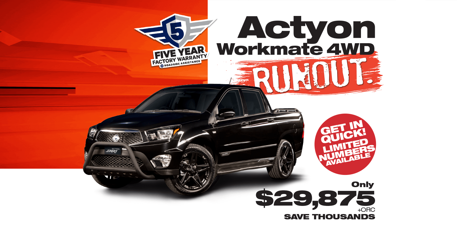 Save During the SsangYong Actyon Workmate 4WD UTE Runout Sales Event
