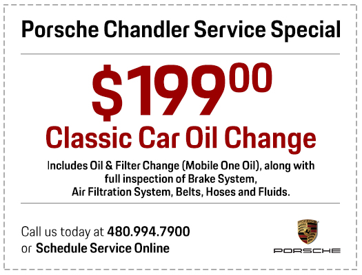 Click to print your Porsche $199 classic car oil change service special in Chandler, AZ