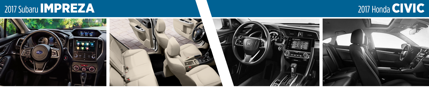 Compare 2017 Subaru Impreza 4dr vs Honda Civic Sedan Interior Styling