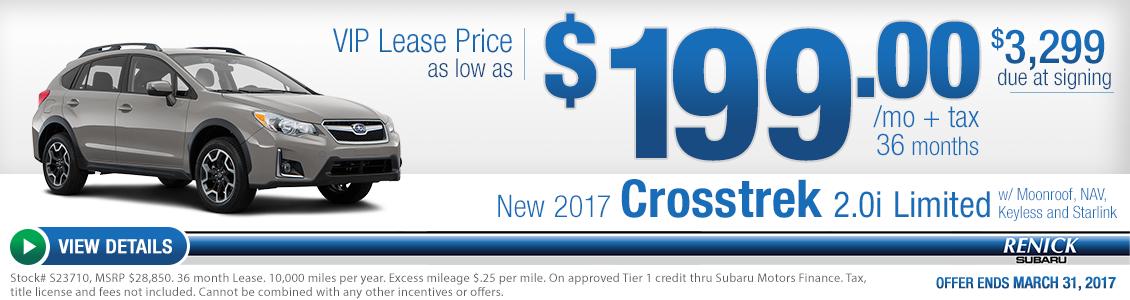 2017 Crosstrek 2.0i Limited w/Moonroof, NAV, Keyless and Starlink lease special serving Costa Mesa, CA