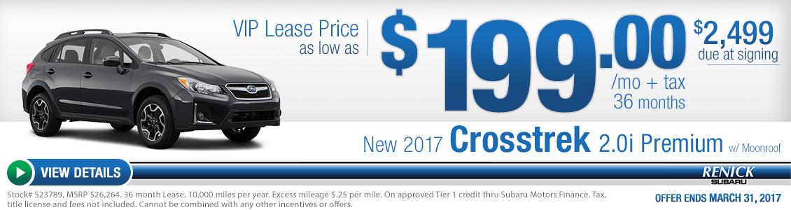 2017 Crosstrek 2.0i Premium w/Moonroof lease special serving Costa Mesa, CA
