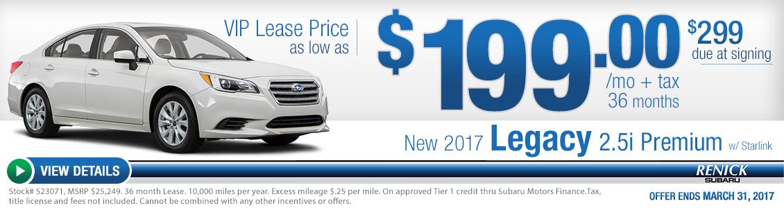 2017 Legacy 2.5i Premium w/Starlink lease special serving Costa Mesa, CA