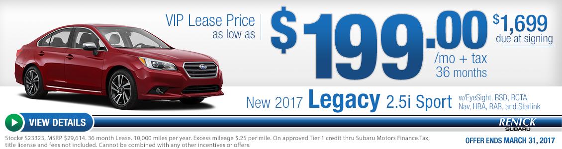 2017 Legacy 2.5i Sport lease special serving Costa Mesa, CA