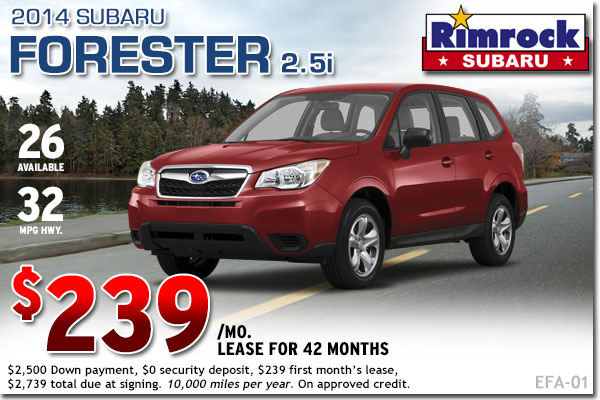 New 2014 Subaru Forester 2.5i Lease Special Offer serving Billings, Montana