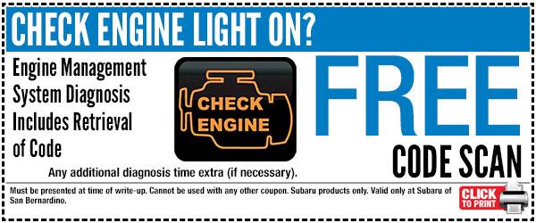 San Bernardino Subaru Free Check Engine Light Code Retrieval With Coupon Home Design Ideas