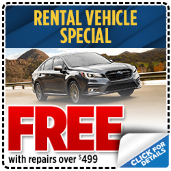 Free rental vehicle with repairs over $500 at Shingle Springs Subaru serving Sacramento, CA