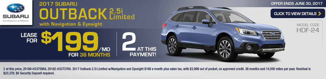 2017 Subaru Outback 2.5i Limited w/Navigation and Eyesight Lease Special in Shingle Springs, CA