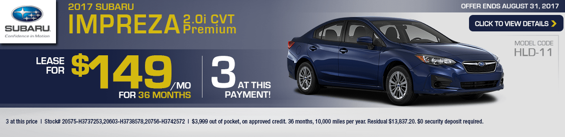 2017 Subaru Impreza 2.0i Premium w/CVT Lease Special in Shingle Springs, CA