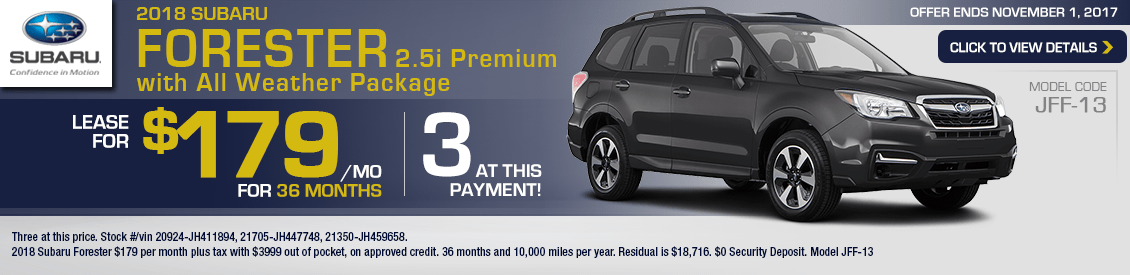 2018 Subaru Forester 2.5i Premium with All Weather Package Lease Special in Shingle Springs, CA