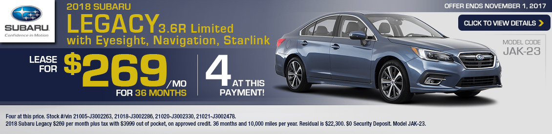 2018 Subaru Legacy 3.6R w/Eyesight Navigation and Starlink Lease Special in Shingle Springs, CA