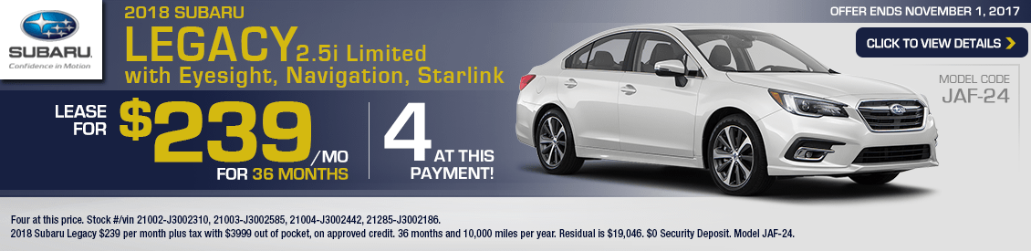 2018 Subaru Legacy 2.5i Limited w/Eyesight, Navigation, Starlink Lease Special in Shingle Springs, CA