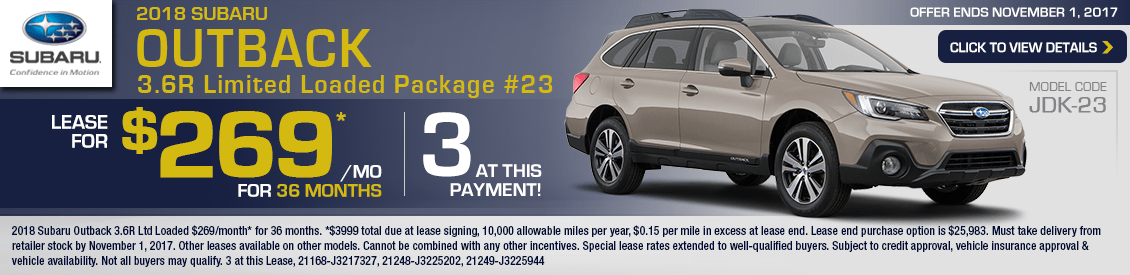 2018 Subaru Outback 3.6R Ltd Loaded Lease Special in Shingle Springs, CA