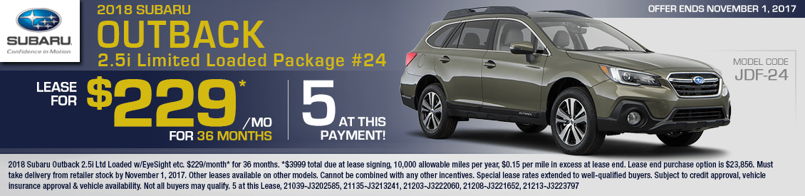 2018 Subaru Outback 2.5i Ltd Loaded Lease Special in Shingle Springs, CA