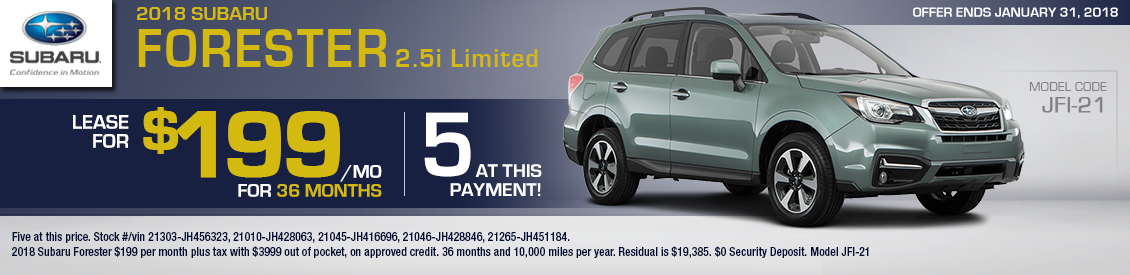 2018 Subaru Forester Limited Special lease savings offer in Shingle Springs, CA