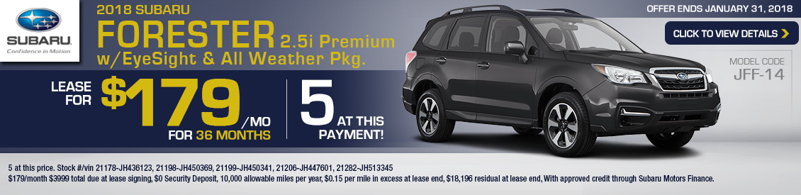 2018 Subaru Forester 2.5i Premium Special Leasing Offer in Shingle Springs, CA