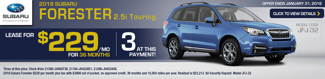 2018 Subaru Forester 2.5i Touring Special Leasing Offer in Shingle Springs, CA