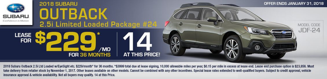 2018 Subaru Outback 2.5i Limited Loaded Package Special Leasing Offer in Shingle Springs, CA