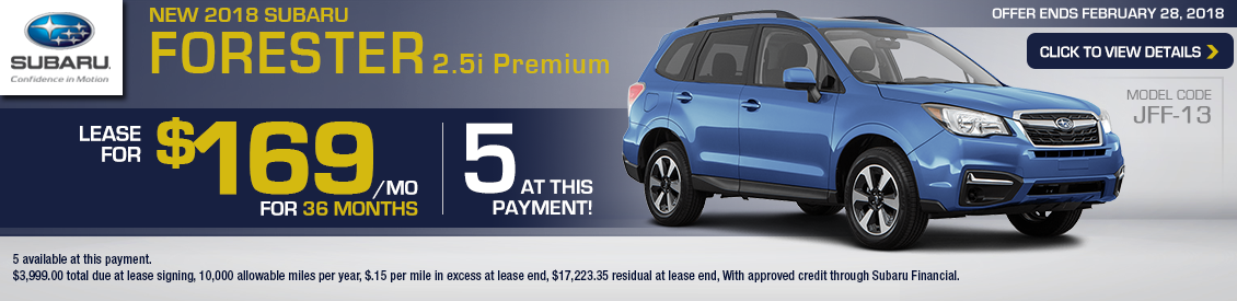 Save With Our 2018 Subaru Forester 2.5i Premium special leasing offer in Shingle Springs, CA