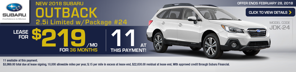 Save With A 2018 Subaru Outback 2.5i Limited w/ Package 24 lease special in Shingle Springs, CA