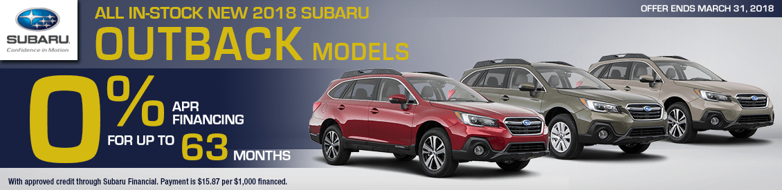 Save With Our Zero Percent financing on All In-Stock New 2018 Subaru Outback models in Shingle Springs, CA