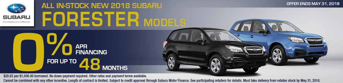 Save With Our 2018 Subaru Forester Zero Percent Financing for up to 48 months offer in Shingle Springs, CA