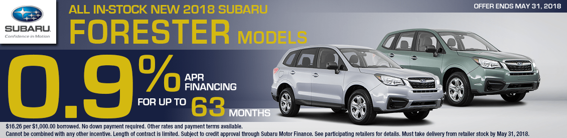 Save With Our 2018 Subaru Forester 0.9% special financing offer in Shingle Springs, CA