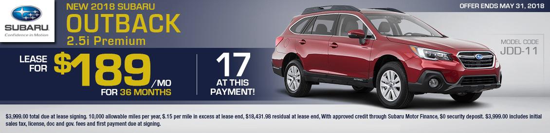 2018 Subaru Outback 2.5i Premium lease special serving Sacramento, CA