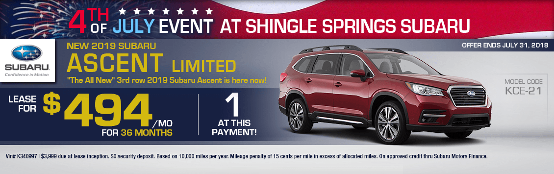 Save With Our 2019 Subaru Ascent Limited special leasing offer in Shingle Springs, CA