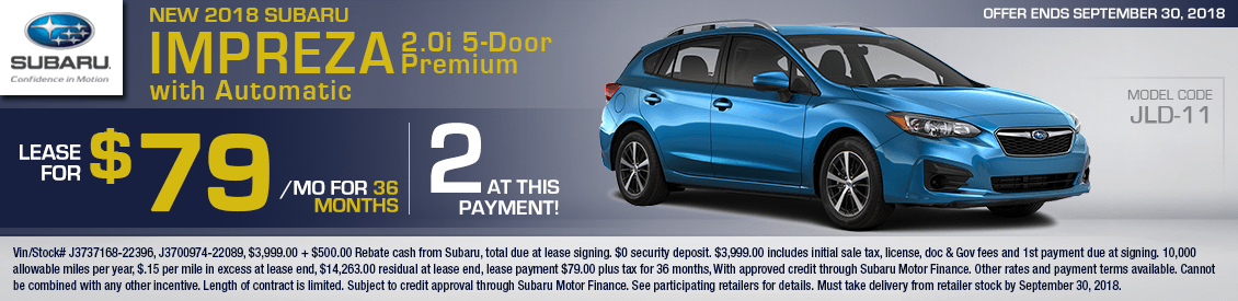2018 Subaru Impreza 2.0i Premium 5-Door w/ Automatic Lease Special serving Sacramento, CA