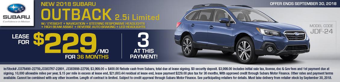 2018 Subaru Outback 2.5i Limited Lease Special serving Sacramento, CA