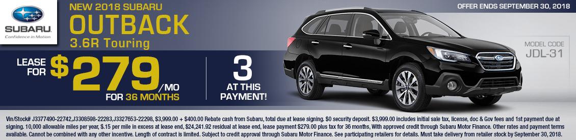 2018 Subaru Outback 3.6R Touring Low Payment Lease Special serving Sacramento, CA