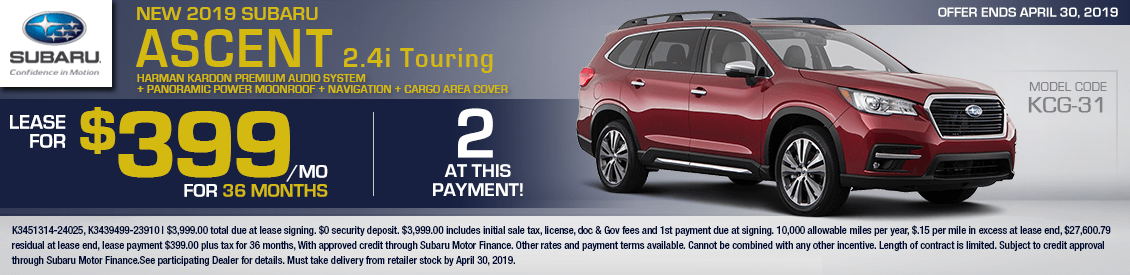 2019 Subaru Ascent Touring 2.4i Lease Special in Shingle Springs, CA