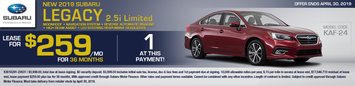 2019 Subaru Legacy 2.5i Limited Low Payment Lease Special in Shingle Springs, CA