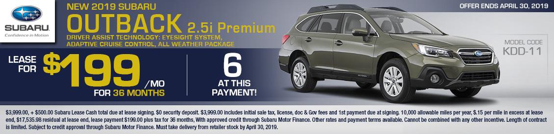 2019 Subaru Outback 2.5i Premium Lease Special in Shingle Springs, CA