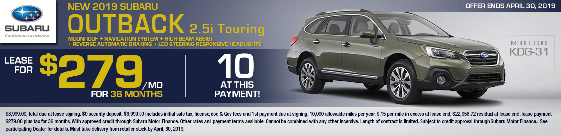 2019 Subaru Outback 2.5i Touring Low Payment Lease Special in Shingle Springs, CA